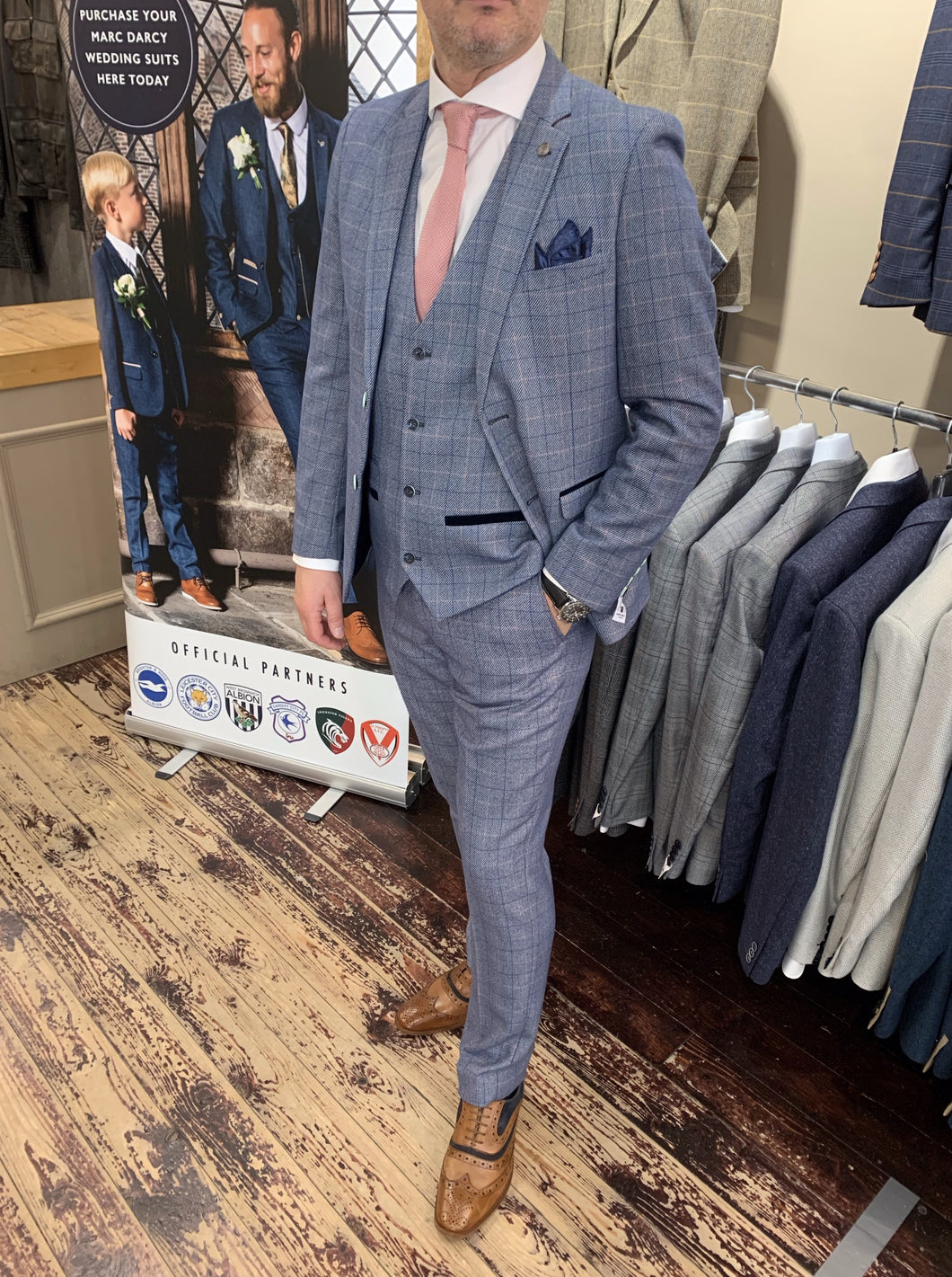 Marc Darcy 'Harry' blue three piece suit (waistcoat, jacket and trousers sold separately) from Gere Menswear