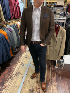 Antony Morato spotted shirt and brown Matinique blazer styled with LEE jeans and Marc Darcy brogues