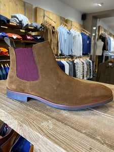 Azor brown suede boot with plum inserts from Gere Menswear (side view)
