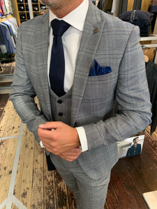 Marc Darcy 'Jerry' grey check three piece suit (waistcoat, jacket and trousers sold separately) close-up from Gere Menswear
