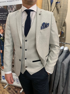 Marc Darcy 'Ronald Stone' jacket and waistcoat with Matinique dark navy dress chino (waistcoat, jacket and trousers sold separately)