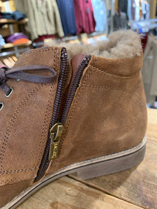 Lacuzzo brown oilskin boot with fur lining from Gere Menswear zip