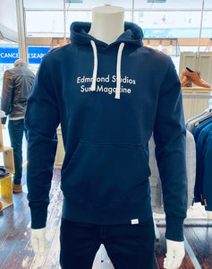 Edmmond Studios Surf Magazine hoody in navy from Gere Menswear