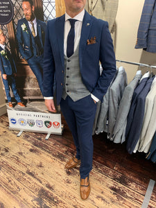 Marc Darcy 'Max Royal' jacket and trousers with contrasting grey 'Jerry' waistcoat (waistcoat, jacket and trousers sold separately) from Gere Menswear