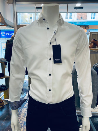 Matinique white shirt with contrast button from Gere Menswear