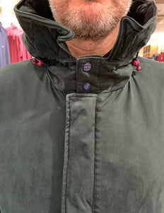 Close-up of hood of Colour & Sons green parka from Gere Menswear
