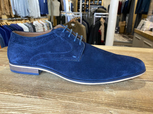 Front London Cartier blue suede shoe side view from Gere Menswear