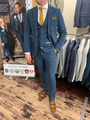 Marc Darcy 'Dion' blue three piece suit (waistcoat, jacket and trousers sold separately) from Gere Menswear