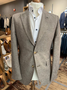 Gibson London light brown cotton/linen mix blazer from Gere Menswear