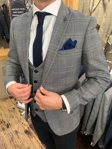 Marc Darcy 'Jerry' grey check jacket and waistcoat with contrasting Matinique dark navy dress chinos (waistcoat, jacket and trousers sold separately)