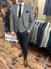 Load image into Gallery viewer, Marc Darcy 'Jerry' grey check jacket and waistcoat with contrasting Matinique dark navy dress chinos (waistcoat, jacket and trousers sold separately)
