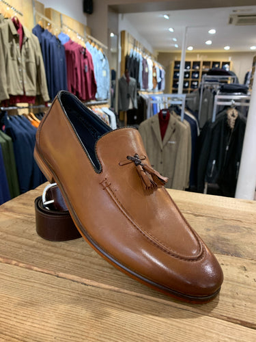 Paolo Vandini brown leather tasselled loafer from Gere Menswear