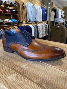 Azor Missori burnished chestnut and blue brogue from Gere Menswear side profile