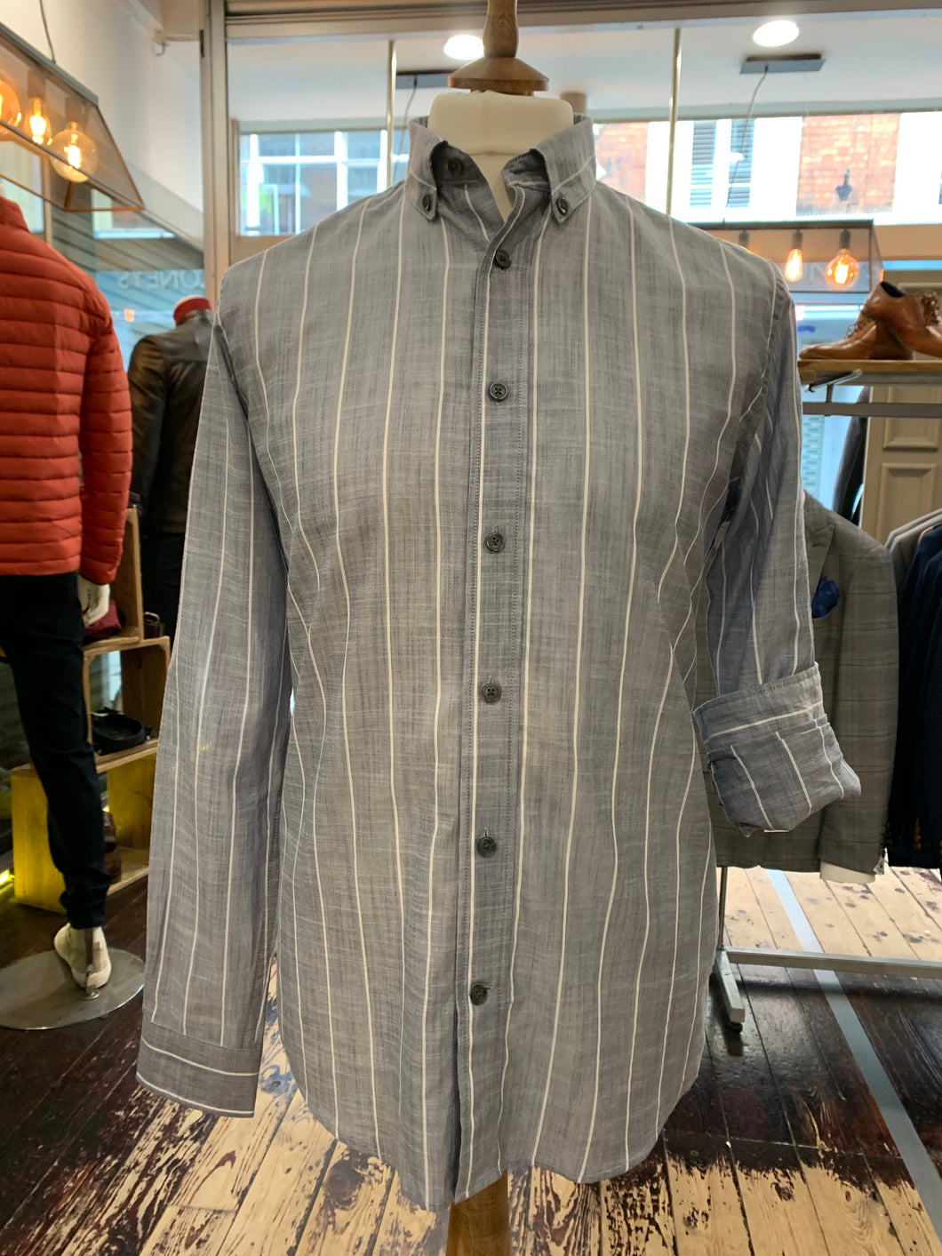 Matinique lightweight shirt in light grey stripe from Gere Menswear
