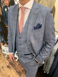 Marc Darcy 'Harry' blue three piece suit (waistcoat, jacket and trousers sold separately) close-up from Gere Menswear