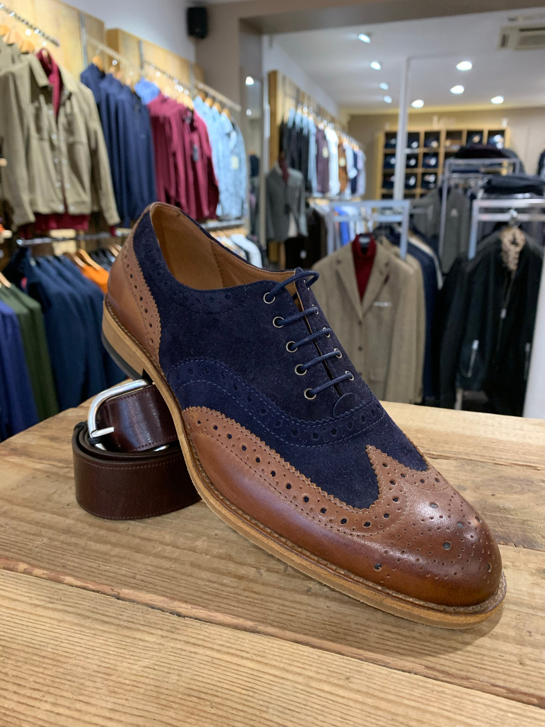 Lacuzzo tan and navy suede brogue from Gere Menswear