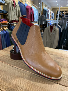 Lacuzzo tan Chelsea boots with navy insert