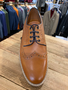 Lacuzzo tan brogues with navy detail