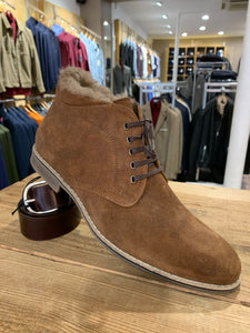 Lacuzzo brown oilskin boot with fur lining from Gere Menswear