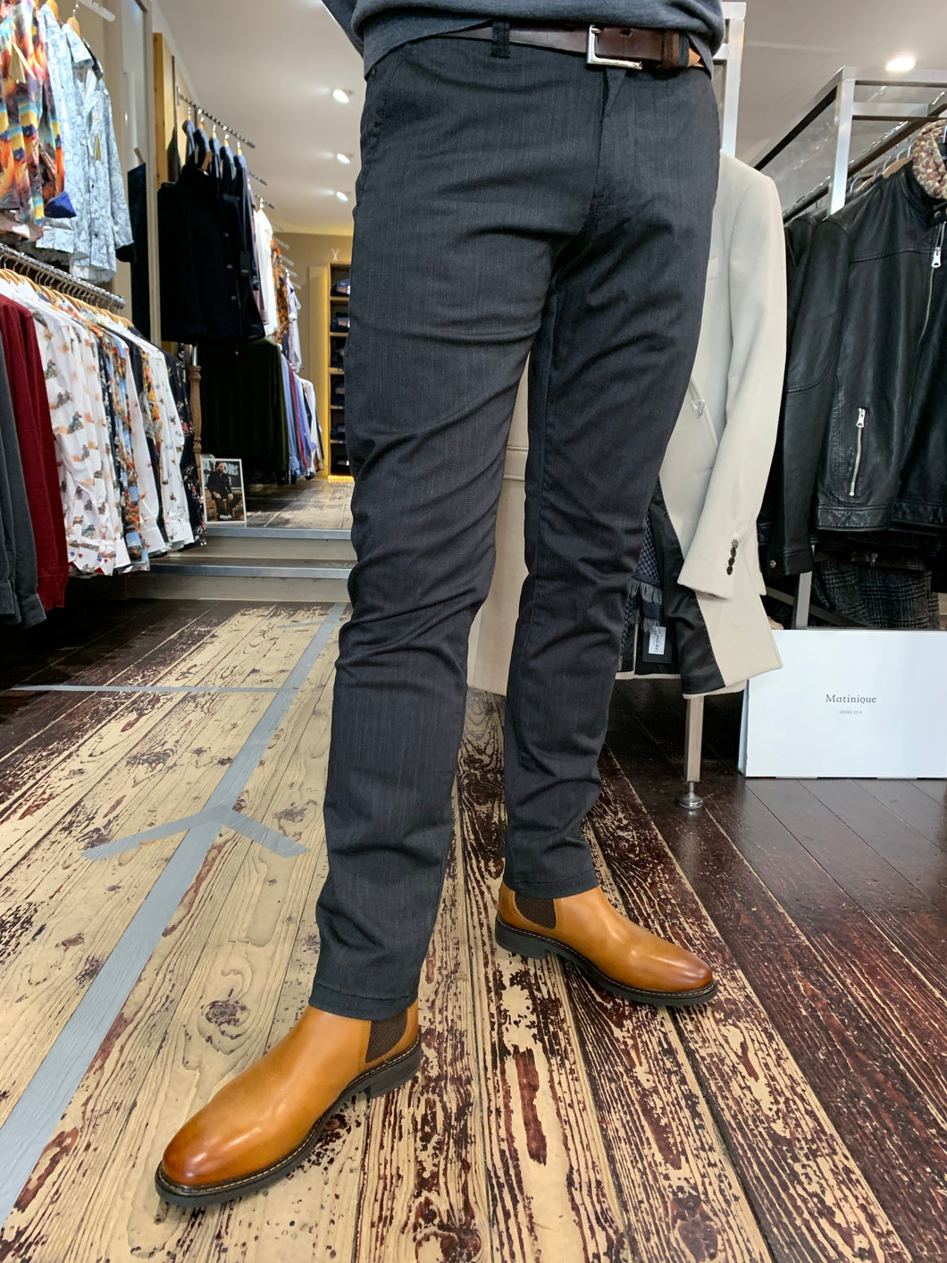 Matinique slim fit chino in grey from Gere Menswear