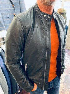 Casual Friday burnt orange jumper styled with black Matinique leather jacket