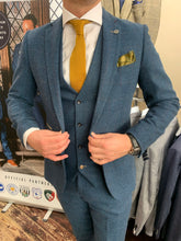 Load image into Gallery viewer, Marc Darcy 'Dion' blue three piece suit (waistcoat, jacket and trousers sold separately) close-up from Gere Menswear