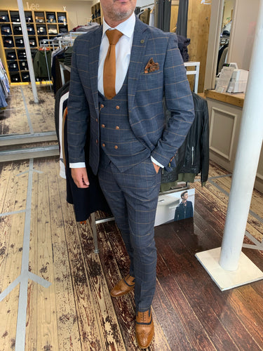 Marc Darcy 'Jenson' marine check three piece suit (waistcoat, jacket and trousers sold separately) from Gere Menswear