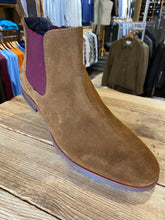 Load image into Gallery viewer, Front London Douglas tan suede Chelsea boot with plum insert