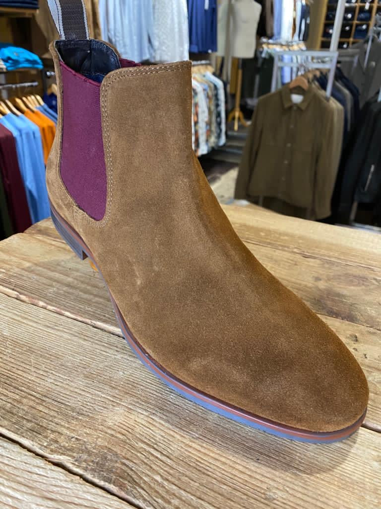 Front London Douglas tan suede Chelsea boot with plum insert