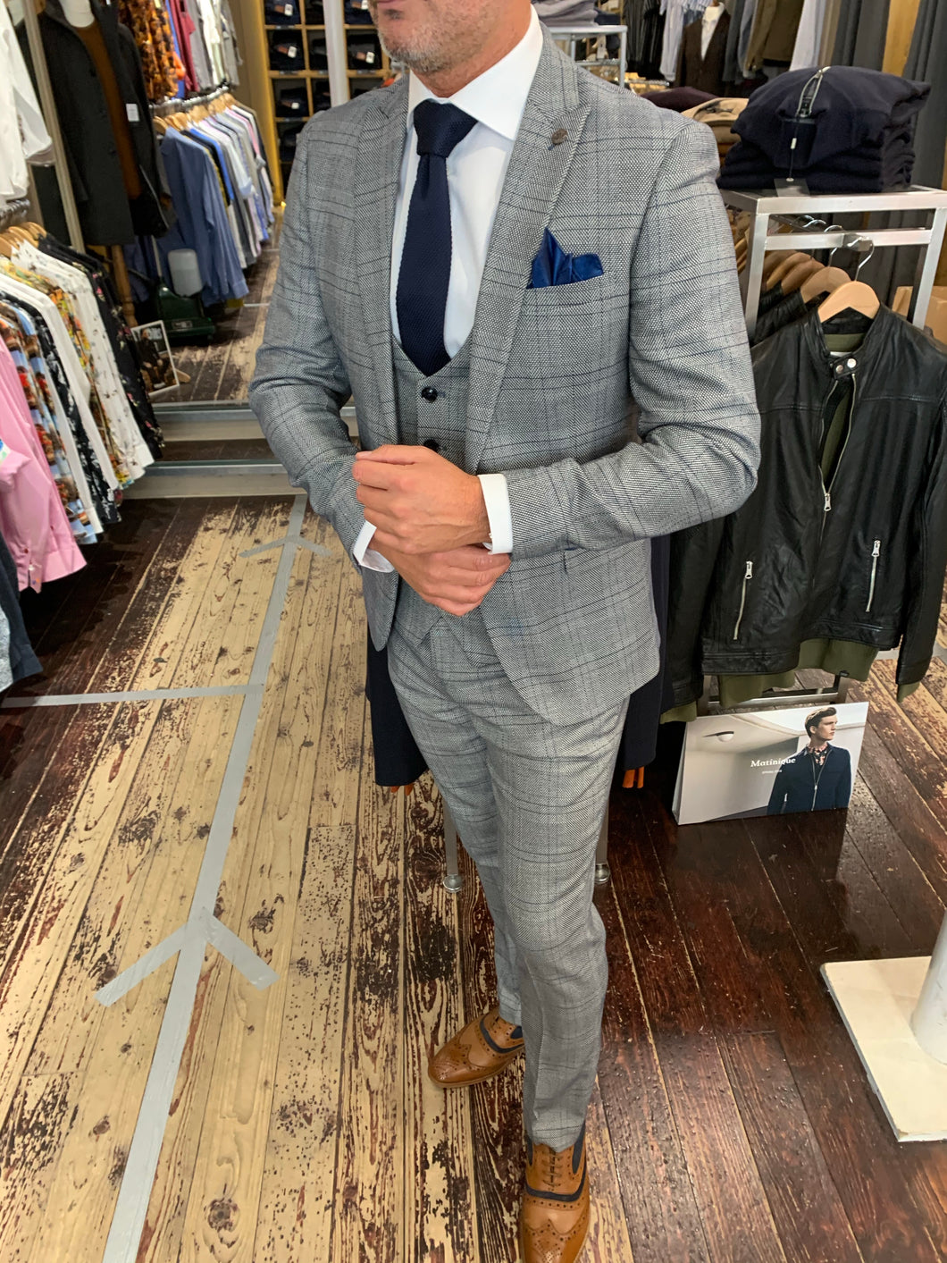 Marc Darcy 'Jerry' grey check three piece suit (waistcoat, jacket and trousers sold separately) from Gere Menswear