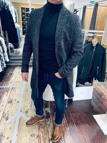 Casual Friday three quarter check coat from Gere Menswear