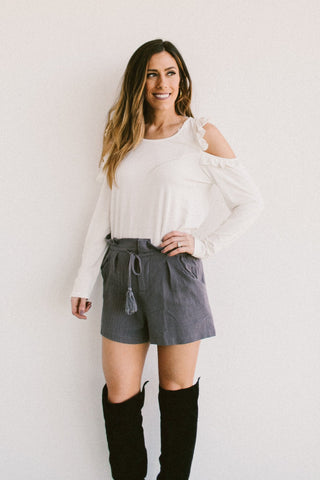 Grey High Waisted Draw String Shorts