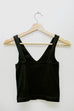 V Neck Ribbed Crop Top- Black