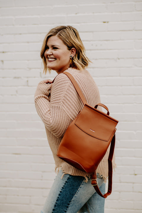 Kim Convertible Backpack - Cognac