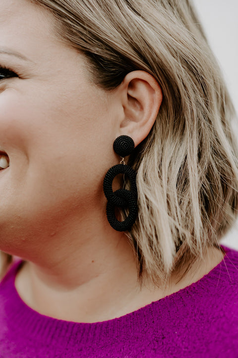 Seed Link Earring- Black