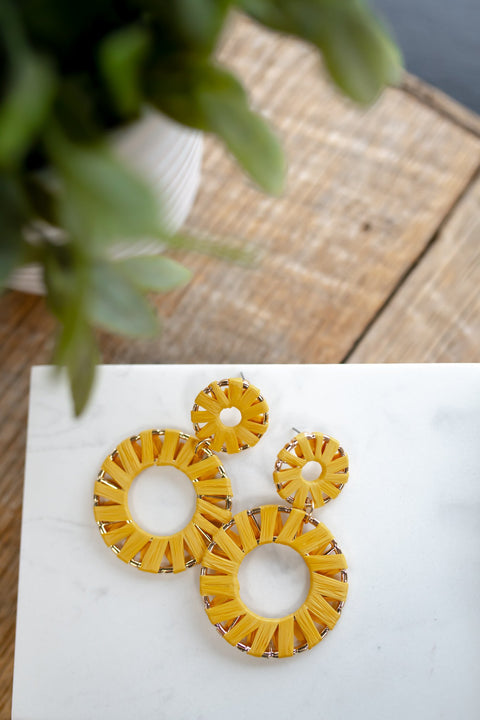 Heading to The Beach Earring- Mustard