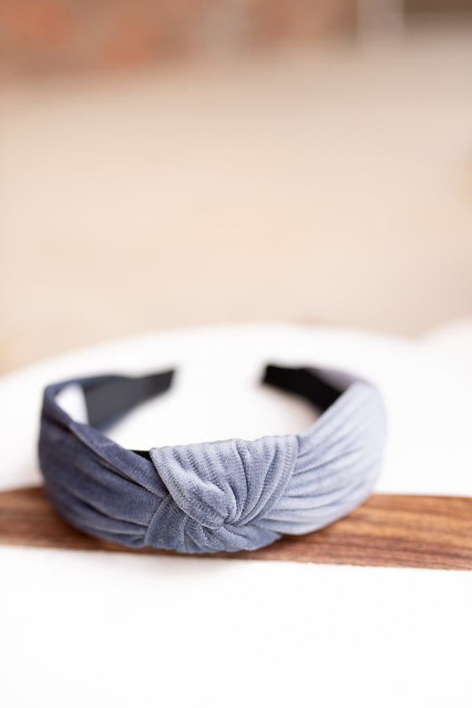 Grey Velvet Knotted Headband