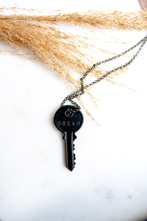 Classic Giving Key Necklace - Charcoal