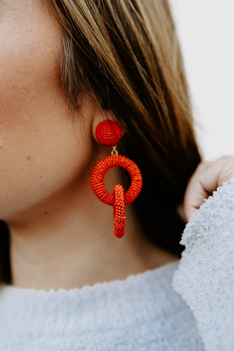 Seed Link Earring- Red