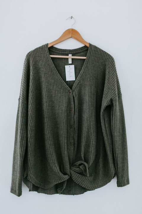 Not Just Mine Top - Olive