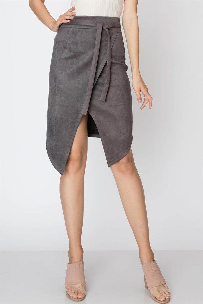 It's All In The Cut Skirt - Charcoal