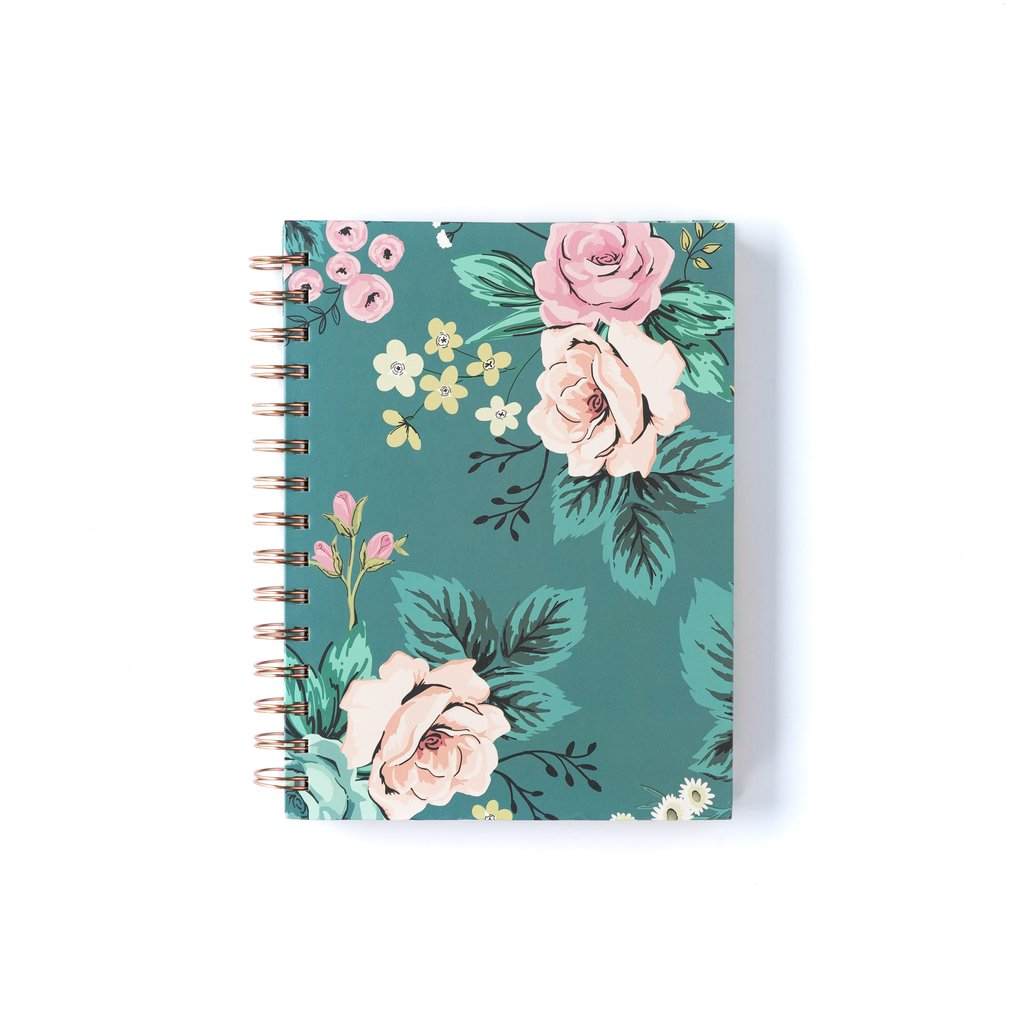 Blue Floral Spiral Journal