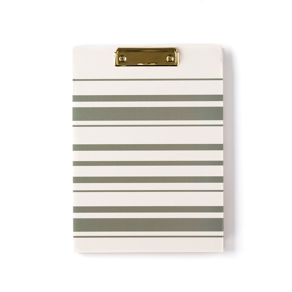 Grey & White Stripe Clipboard Folio
