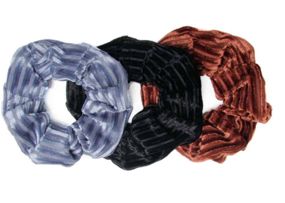 Seas The Day- 3 Pack Ribbed Velvet Scrunchies