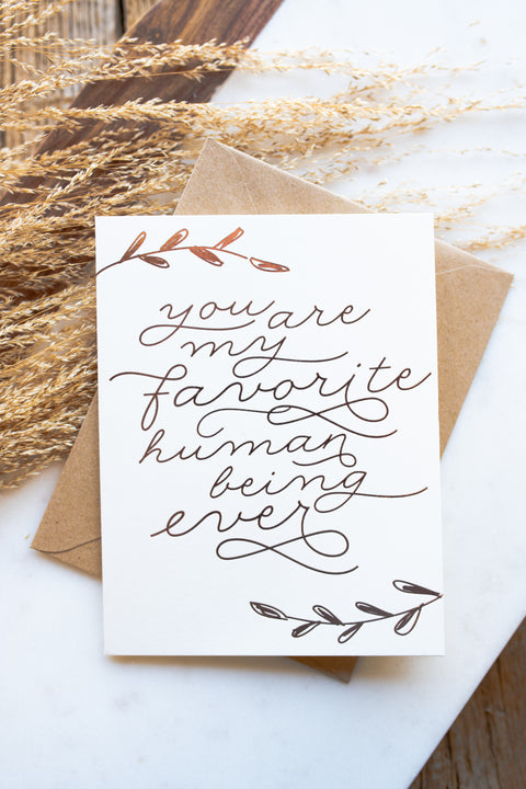 """Favorite Human Being"" Card"
