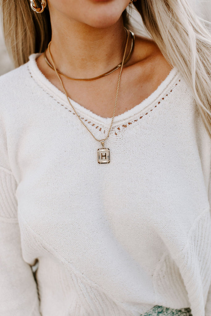 Initial Letter Pendant Necklace