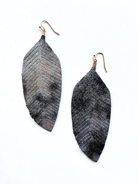 Gunmetal Feather Earring