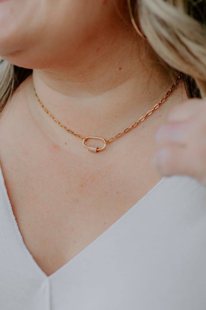 Pave Oval Link Necklace