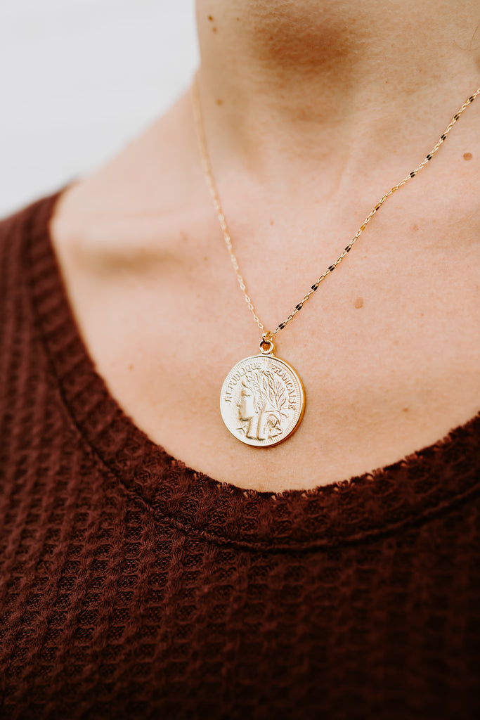 French Coin Necklace- Gold Plated
