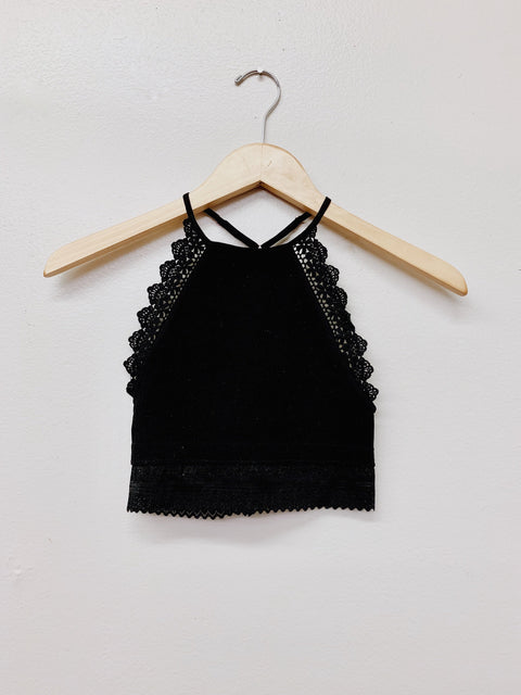 Crochet & Lace Bralette- Black